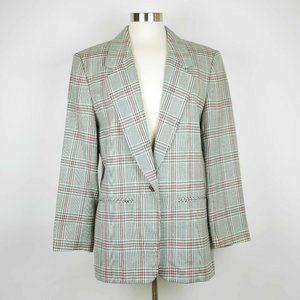 PENDLETON Gray & red plaid 100% wool blazer jacket